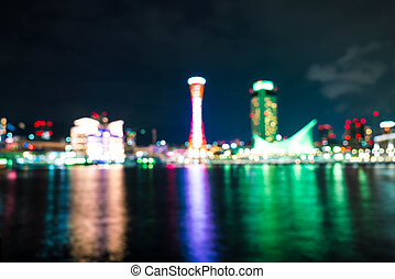 Abstract blur Port of Kobe Tower at Hyogo in Japan