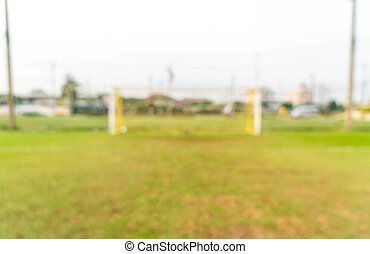 abstract blur soccer goal with football field