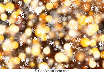 Abstract blur spots background with falling snow flakes