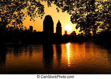 abstract blur sunset and silhouette building