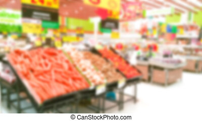 Abstract blur vegetable in supermarket