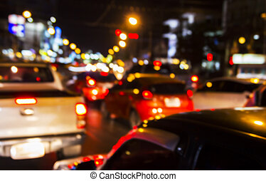 Abstract blurred background of traffic jam in the city with bokeh