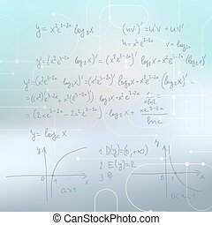 Abstract Blurred Background with mathematical formulas, calculations, graphs, proof and scientific research.