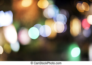 Abstract blurred bokeh background of light decoration in the city