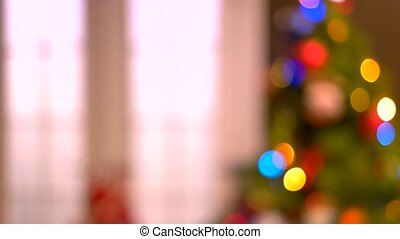 Abstract blurred Christmas tree background.