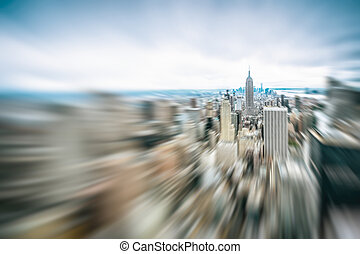Abstract blurred image of Manhattan midtown panorama