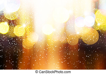 Abstract blurred light with snow background