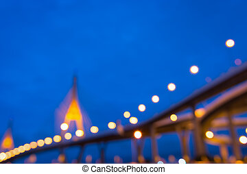 Abstract blurred lights cityscape background , Night bridge.