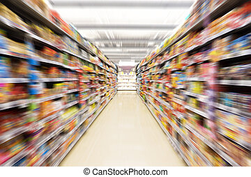 Empty supermarket aisle - Abstract blurred photo of store in...