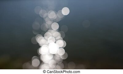 Abstract blurred reflection of sunlight in lake. Bokeh...