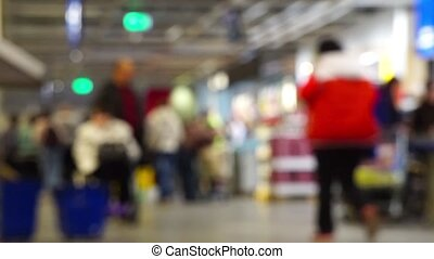 Abstract Blurred shopping mall background with decorations -...