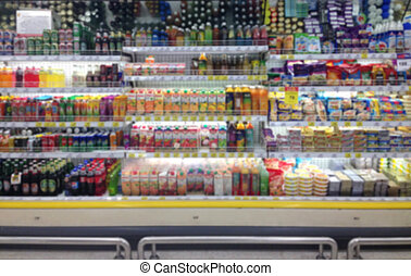 Abstract blurred supermarket aisle with shopping mall and retails store interior for background