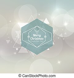 Abstract blurred vector background with hexagon banner and hovering triangles. Merry Christmas. Happy New Year.