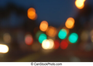 abstract blurry background bokeh of traffic city lights