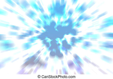 Abstract blurry blue circle explosion background.