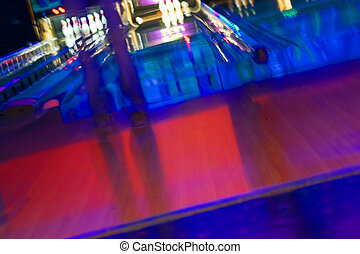 Abstract Blurry Bowling Alley with a girl standing -...