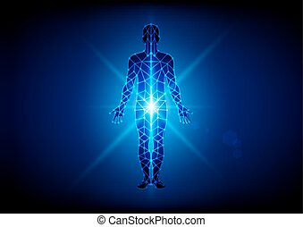 Abstract body with mesh on blue  background. illustration vector design