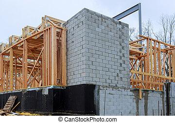 abstract., bois, construction, encadrement, maison, nouveau