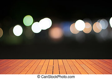 Abstract bokeh and floor wooden background