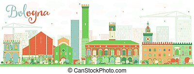 Abstract Bologna Skyline with Color Landmarks. Vector Illustration. Business Travel and Tourism Concept with Historic Buildings. Image for Presentation Banner Placard and Web Site.