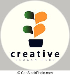 abstract bonsai logo vector template
