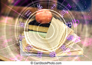 Abstract book with zodiac wheel