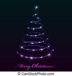 abstract, boom., kerstmis, het fonkelen