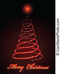 abstract, boompje, het fonkelen, vector, kerstmis kaart