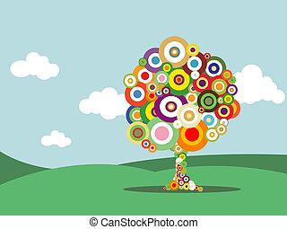abstract, boompje, met, kleurrijke, bellen