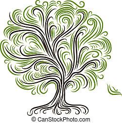 abstract, boompje, met, wortels, voor, jouw, ontwerp