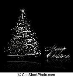 abstract, boompje, zilver, zwarte achtergrond, kerstmis