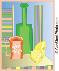 Abstract bottle with cup and two lemons on the table
