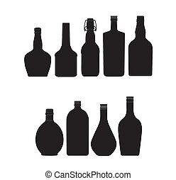 abstract bottles symbols set black color