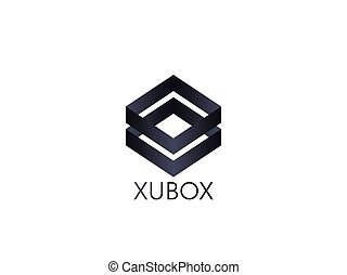 abstract box cube logo icon template. apps and technology thing concept symbol.