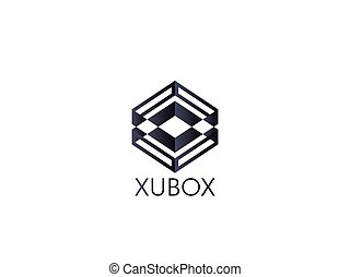abstract box cube logo icon template. apps and technology thing concept symbol