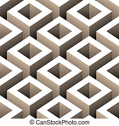 abstract boxes 3d seamless pattern vector illustration