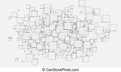 Abstract boxes wiggle video. 3D illustration