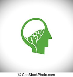 abstract brain as tree in human head concept logo vector icon