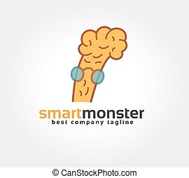 Abstract brain character vector logo icon concept. Logotype template for branding