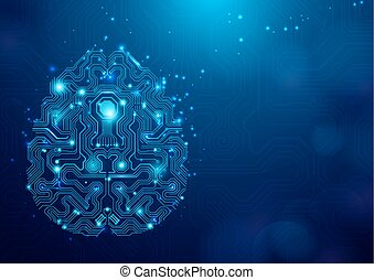 Abstract brain circuit lines hi technology on blue Background with Space for your Text