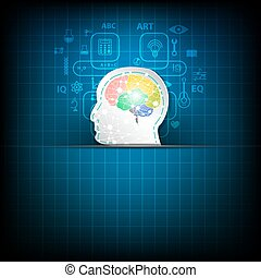 Abstract brain concept on blue background.