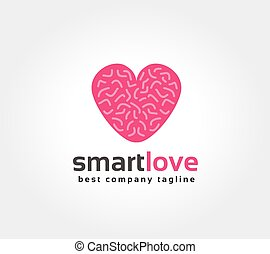 Abstract brain in love vector logo icon concept. Logotype...