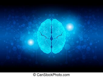 abstract brain technology with network connection. illustration vector design