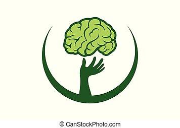 abstract brain tree hand logo icon