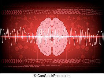 Abstract brain wave concept on blue background technology....
