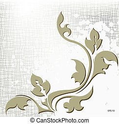 Abstract branch on the shabby background