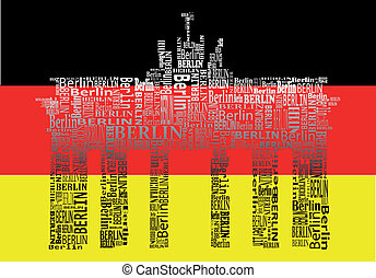 Brandenburg gate - abstract Brandenburg gate with words...
