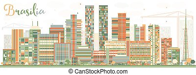 Abstract Brasilia Skyline with Color Buildings.