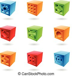 Abstract brick cubes in various colors
