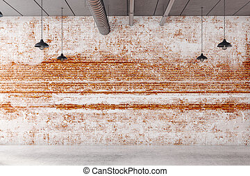 Advert concept - Abstract brick interior with empty wall and...